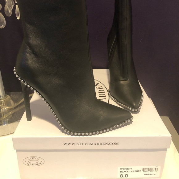 06e8fb0368b Steve Madden black leather worthy booties NWT